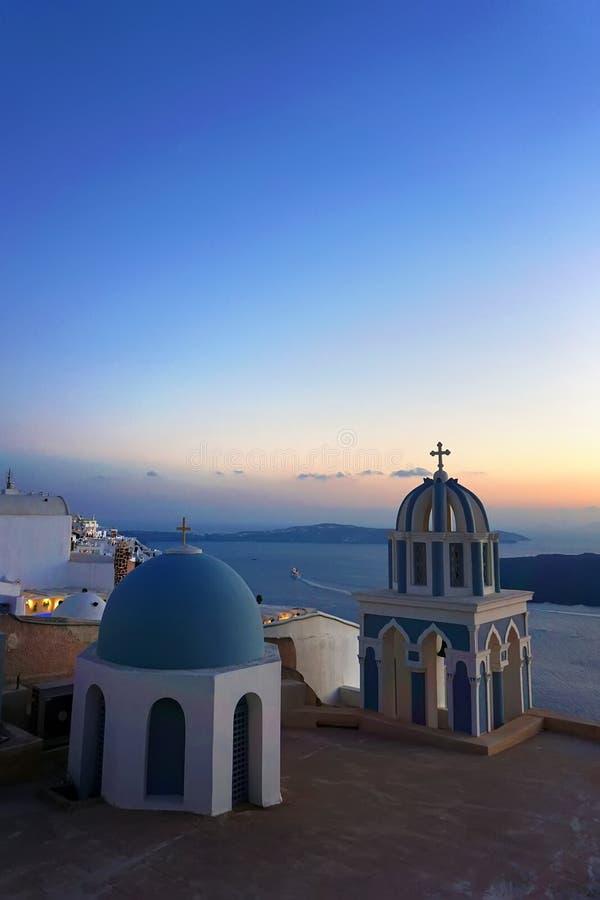 Churches in Imerovigli, Santorini, Greece. Churches in Imerovigli after sunset , Santorini, Greece stock photography