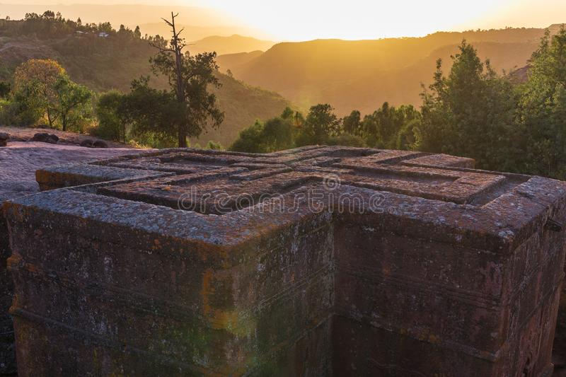 Sunset at monolithic church of Saint George Bet Giyorgis. The churches of Lalibela is on UNESCO World Heritage List stock images