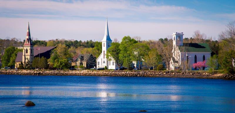 Churches mahone bay nova scotia stock photo