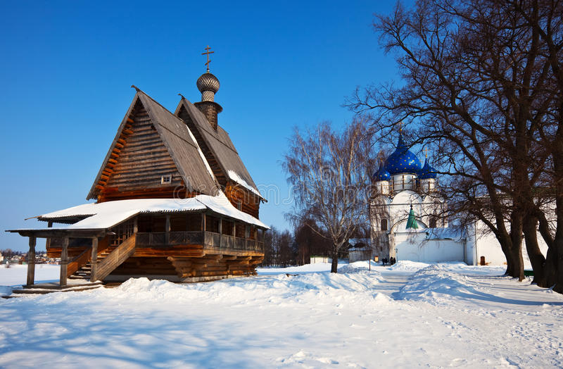 Churches at Suzdal in winter. Russia stock images