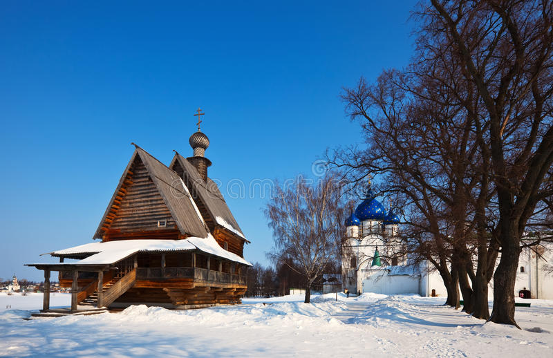 Churches at Suzdal in winter. Russia stock photography