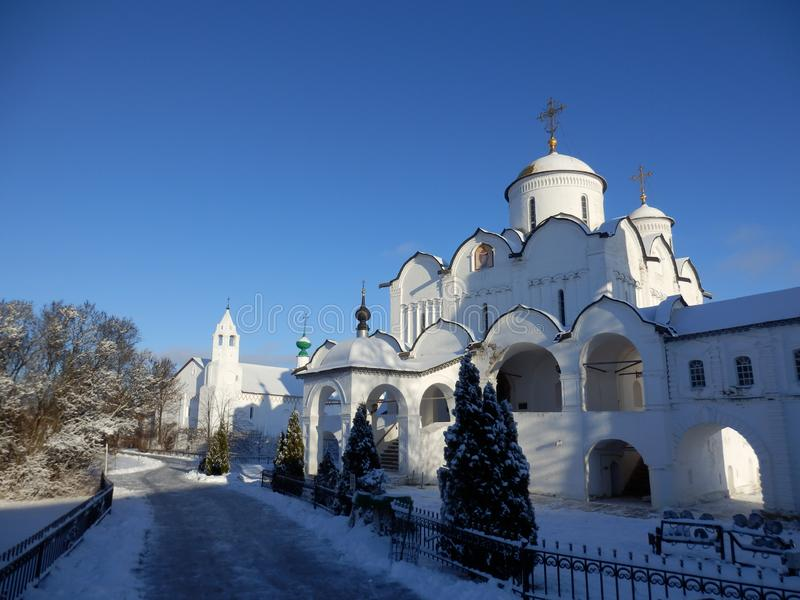 Churches in Suzdal in winter. White Churches in Suzdal in winter. Blue Sky and snow. Golden ring near moscow, Russia stock image