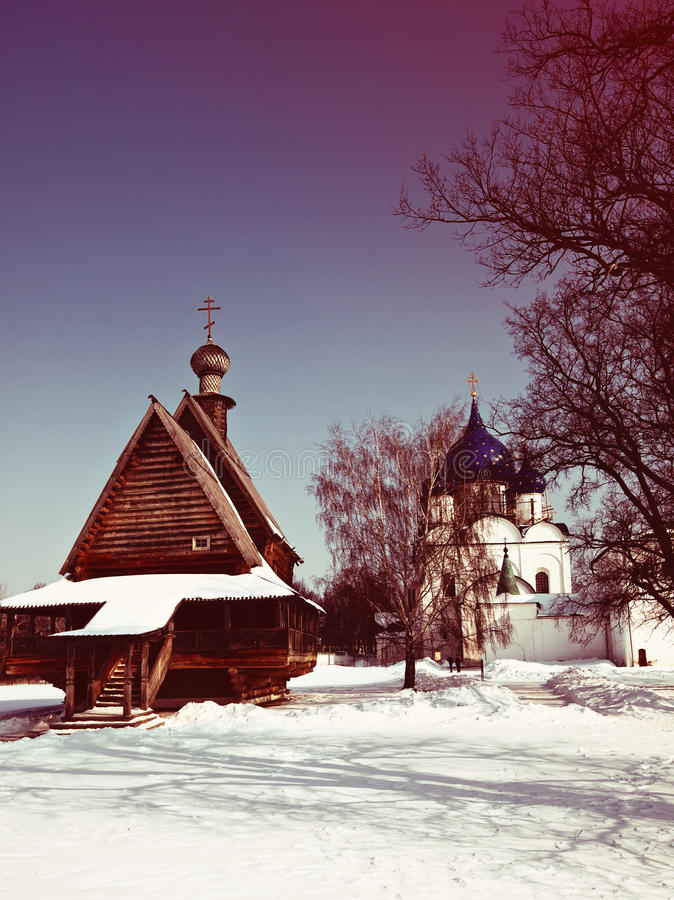 Churches at Suzdal in winter stock photography