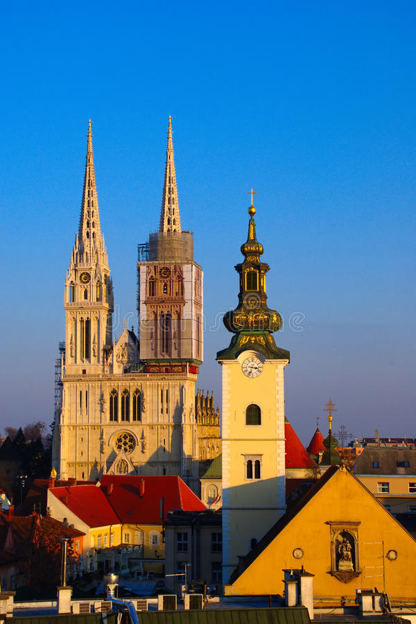 Churches of Zagreb, Croatia stock photo