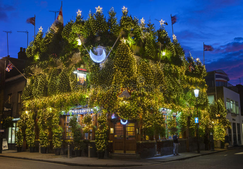 The Churchill Arms Public House at Christmas royalty free stock photos