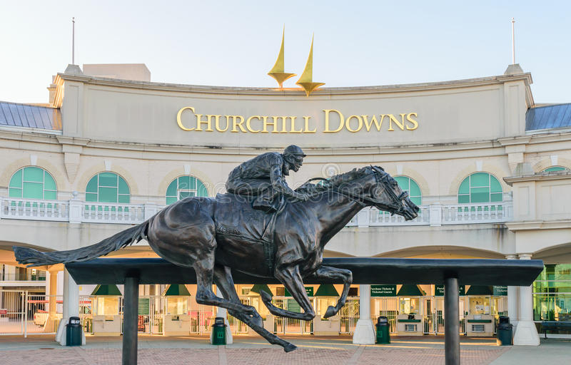 Churchill Downs Entrance. Louisville, Kentucky, USA. Main entrance to Churchill Downs home of the Kentucky Derby on the 1st Saturday in May royalty free stock image