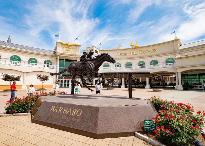 Churchill Downs Horse Race track and Derby museum in Louisville - LOUISVILLE. USA - JUNE 14, 2019. Churchill Downs Horse Race track and Derby museum in royalty free stock images