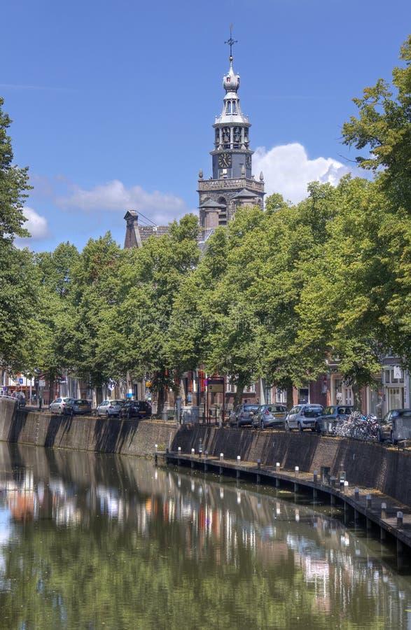 Churchtower van Gouda, Holland stock fotografie