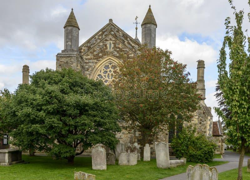 Churchyard i St Tomasowski kościół, żyto obraz stock