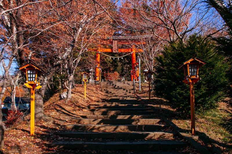 Chureito塔寺庙入口红色鸟居门在秋天槭树下 Shimoyoshida -富士吉田市 图库摄影