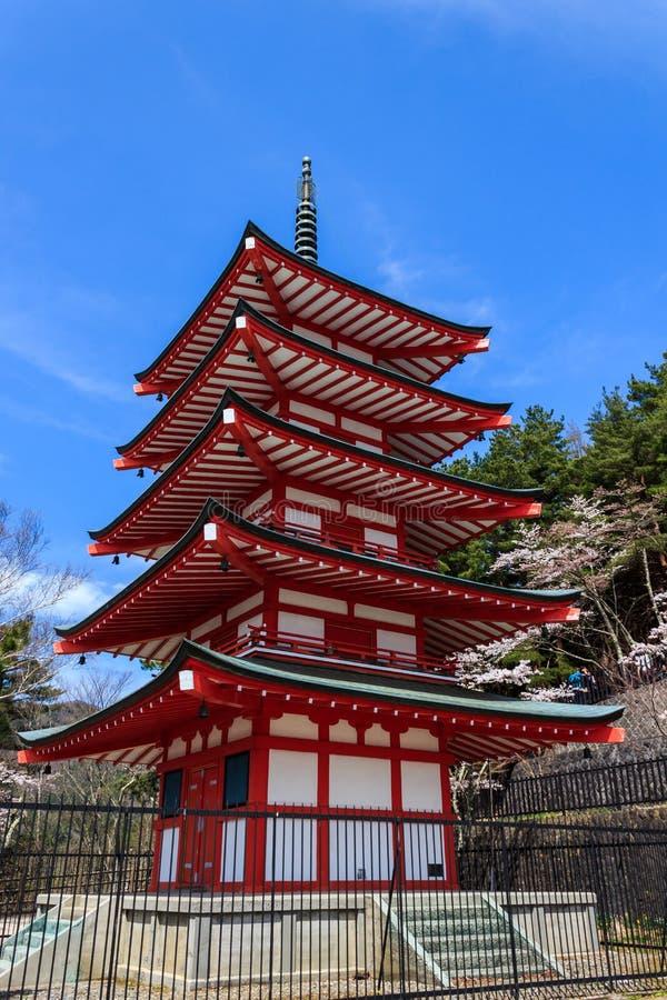 Chureito Pagoda in Arakura Sengen Shrine. stock photo