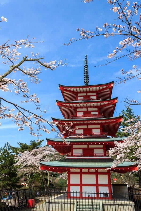 Chureito Pagoda in Arakura Sengen Shrine. Chureito Pagoda in Arakura Sengen Shrine area is viewpoint of Mount Fuji in combination with cherry blossoms and royalty free stock photos
