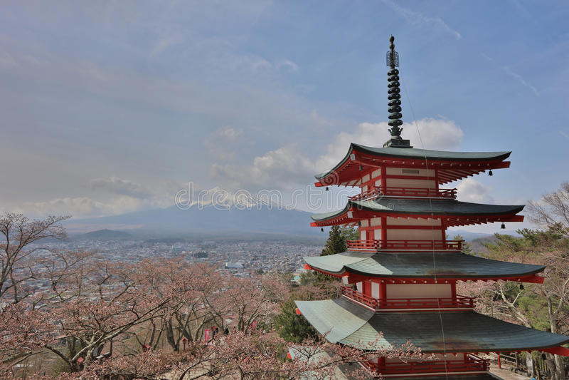 Chureito Pagoda at Arakura Sengen Shrine stock photos