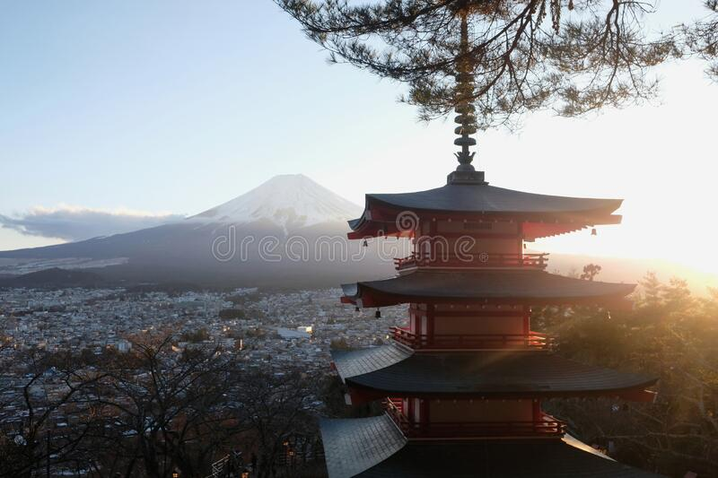 Chureito Pagoda view Mt.fuji at sunset , beautiful Japan view at Fujiyoshida. Chureito Pagoda view Mt.fuji at sunset royalty free stock photos