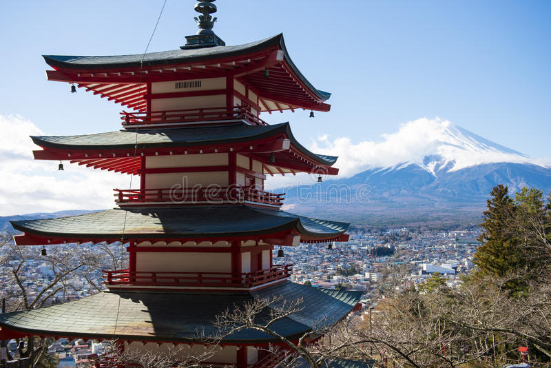 Chureito Pagoda view point with Mt.Fuji background. Landmark royalty free stock photos