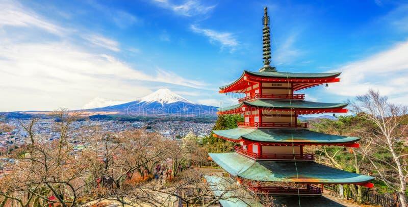 Chureito red pagoda and mount Fuji background, japan stock photo