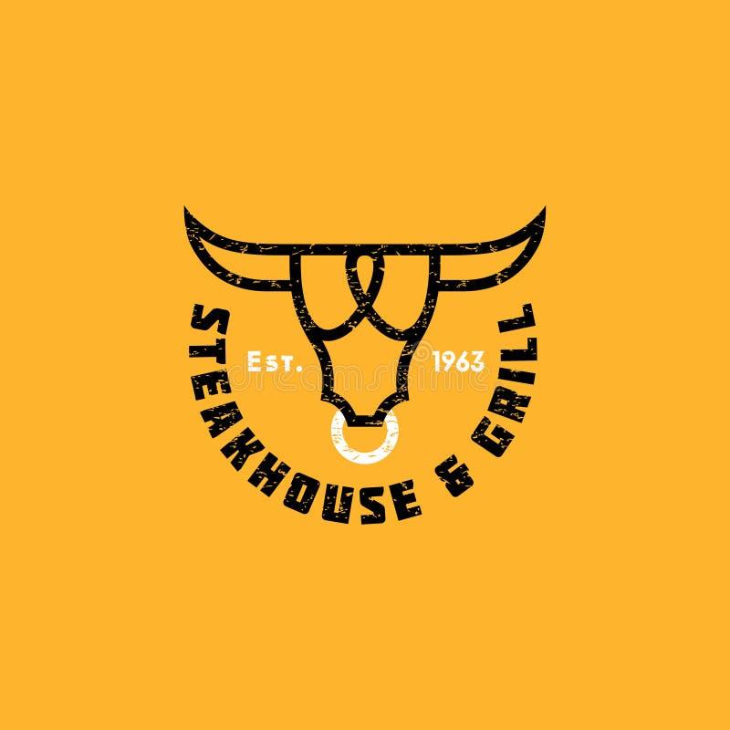 Churrasqueira do logotipo Emblemas do restaurante ou do açougue da carne A cabeça estilizado de um touro e de letras ilustração stock