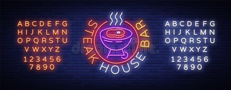 Churrasqueira Logo Vetora Sinal de néon, símbolo, assado brilhante da propaganda, grade, carne do assado, barra da grade, restaur ilustração royalty free