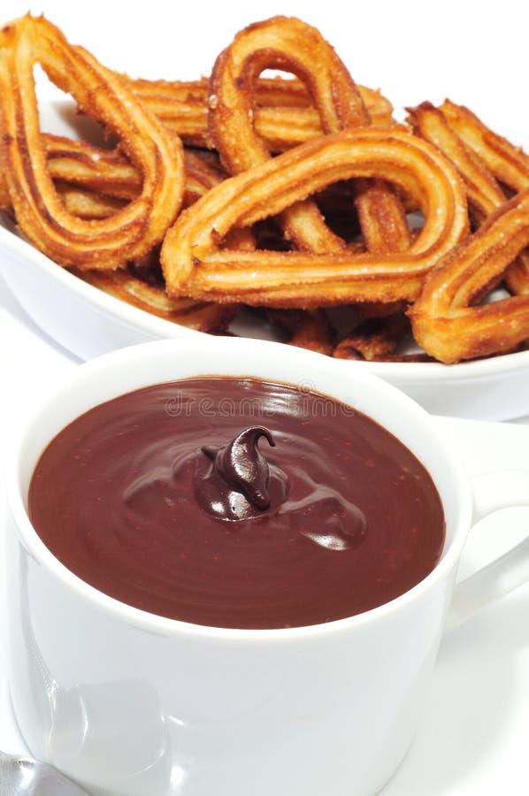 Churros con cioccolato fotografie stock libere da diritti