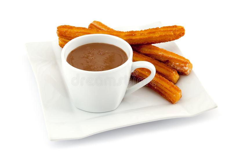 Churros mit heißer Schokolade lizenzfreies stockbild