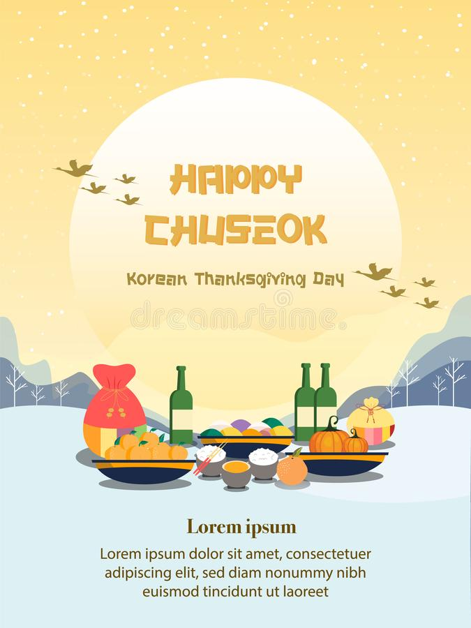 Chuseok banerdesign persimonträd på fullmånesiktsbakgrund royaltyfri illustrationer