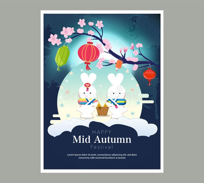 Chuseok banner design.persimmon tree on full moon view background.  stock illustration