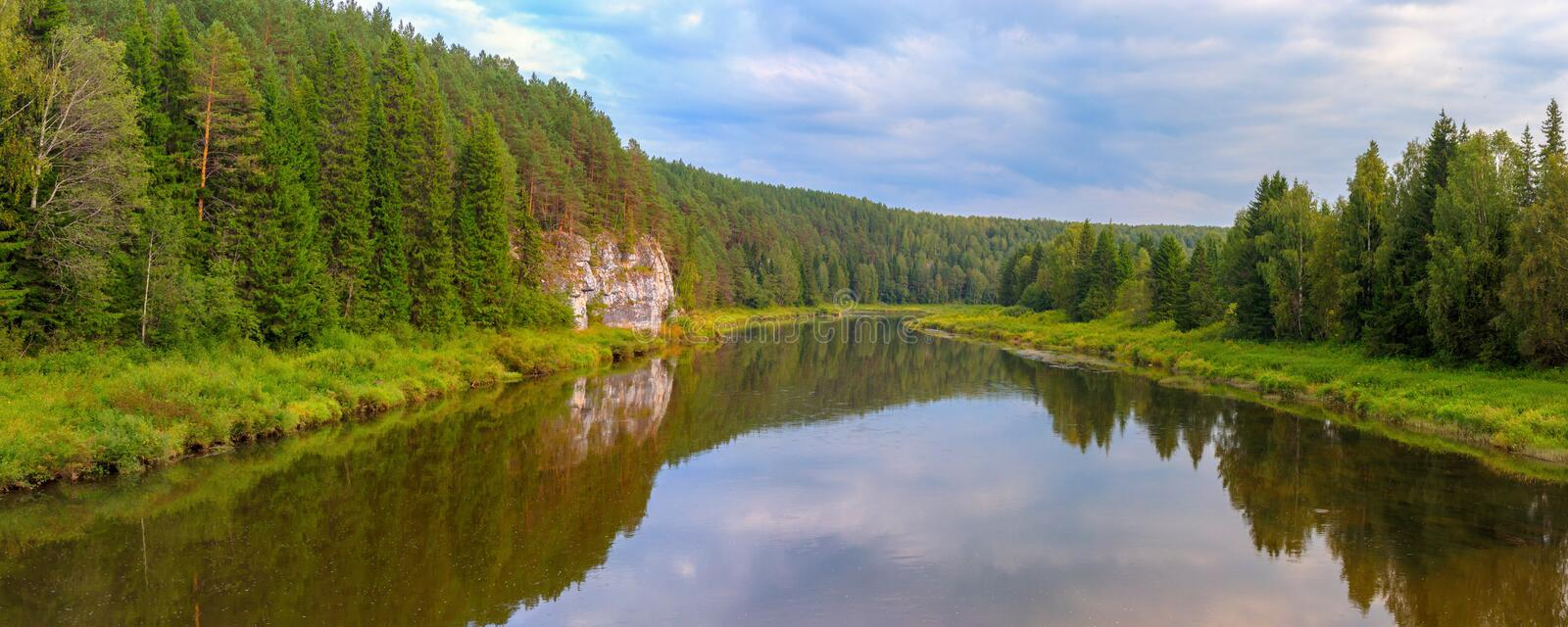 Chusovaya river picturesque landscape, Ural, Russia royalty free stock photography