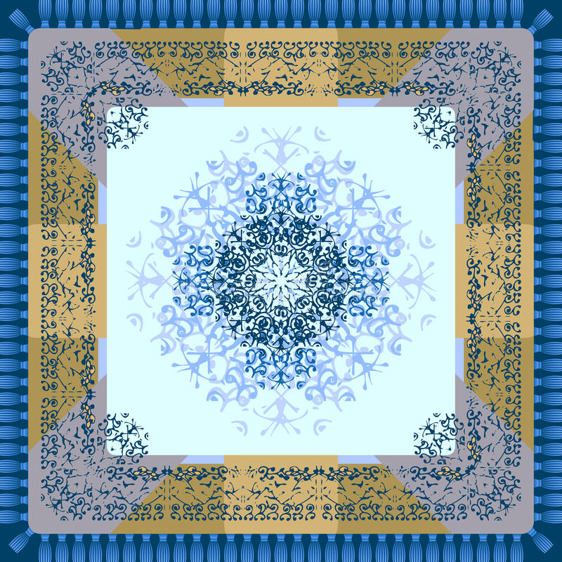 Chusteczka lub pielucha z ornamentem Temat zima ilustracji