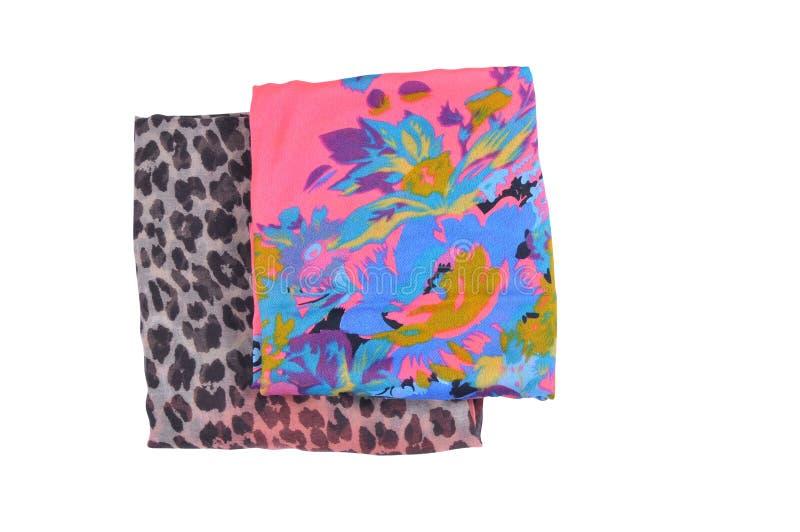 Chustka odgórny widok set dwa barwionego scarves, składający pojedynczy białe tło zdjęcia stock