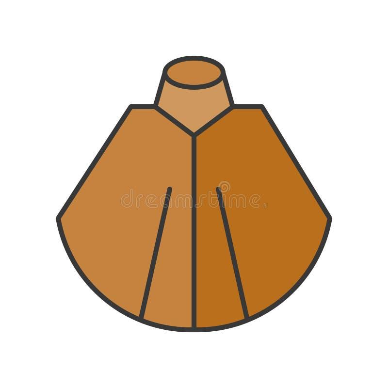 Chusty lub poncho moda dla, wypełniający koloru outlin ilustracja wektor