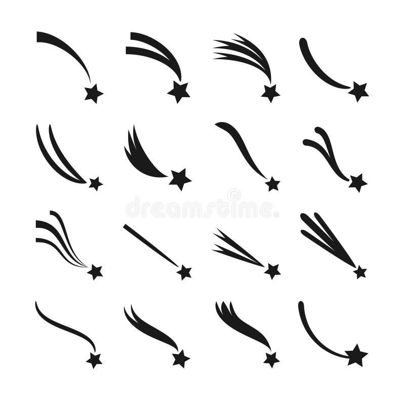Chute, étoiles filantes, météorites et comètes avec des icônes de vecteur de queues réglées illustration stock
