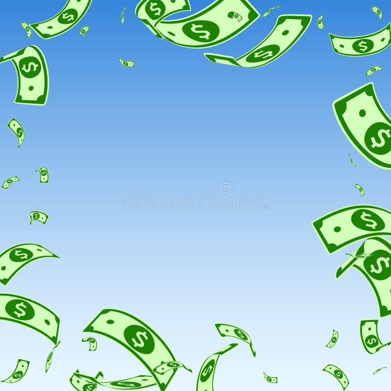 Chute américaine de notes du dollar Factures aléatoires d'USD dessus illustration stock