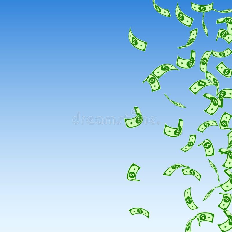 Chute américaine de notes du dollar Factures clairsemées d'USD dessus illustration stock