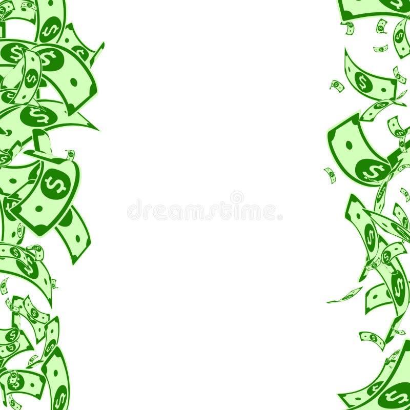 Chute américaine de notes du dollar Factures malpropres d'USD dessus illustration stock