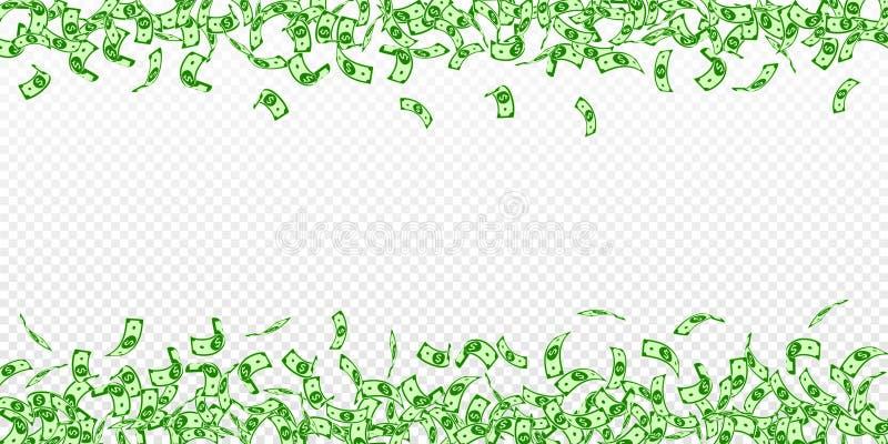 Chute américaine de notes du dollar Petites factures d'USD dessus illustration libre de droits