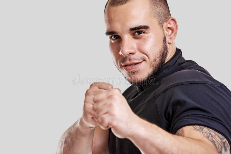 Chute-boxer muscular e poderoso imagem de stock royalty free