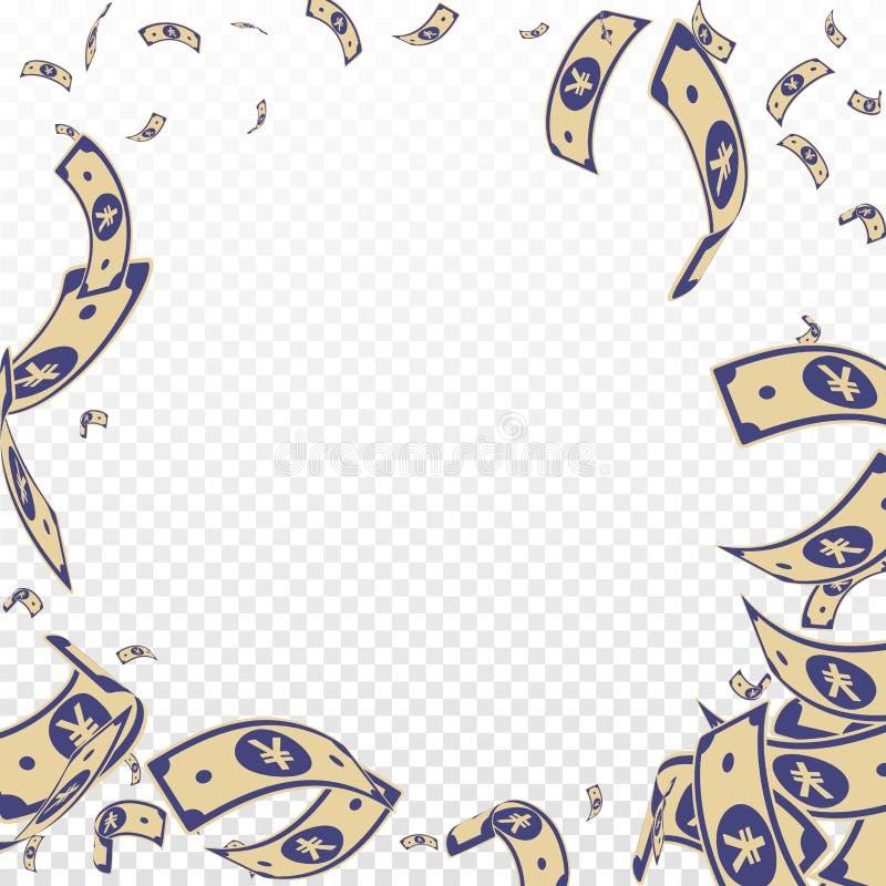 Chute chinoise de notes de yuans Factures aléatoires de CNY sur le TR illustration libre de droits