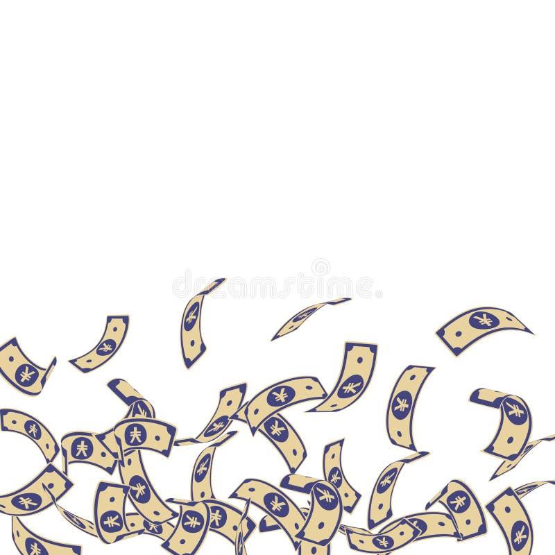 Chute chinoise de notes de yuans Factures de flottement de CNY dessus illustration stock