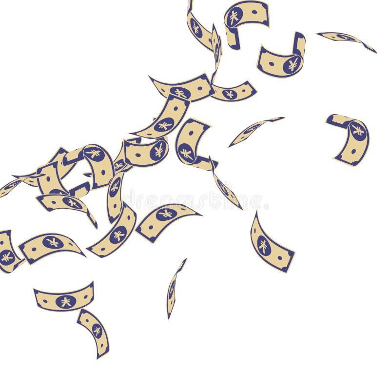 Chute chinoise de notes de yuans Factures de flottement de CNY dessus illustration de vecteur