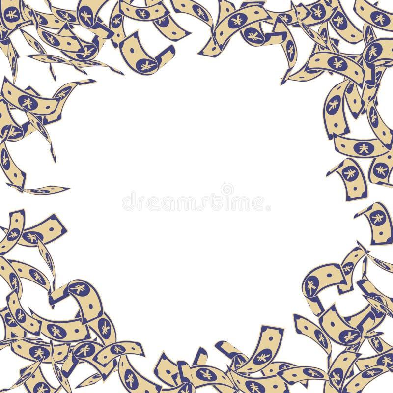 Chute chinoise de notes de yuans Factures de flottement de CNY dessus illustration libre de droits