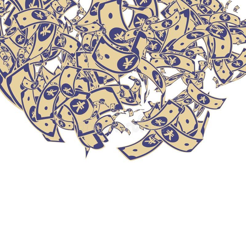 Chute chinoise de notes de yuans Factures malpropres de CNY sur le whi illustration libre de droits