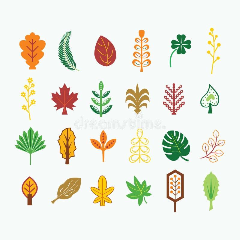 Chute colorée abstraite et icônes tropicales de feuilles réglées sur le fond clair illustration stock