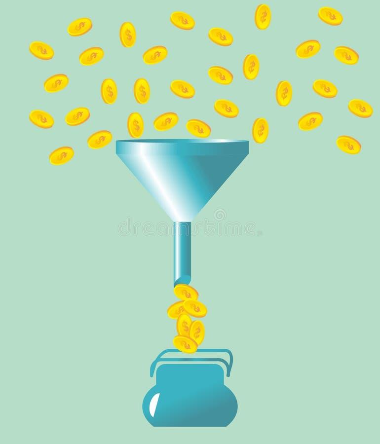 Chute d'argent dans l'entonnoir illustration stock