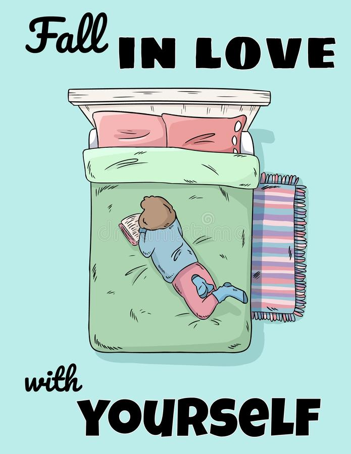 Chute dans l'amour avec vous-même carte postale drôle mignonne Livre de lecture de fille sur l'image comique de style de lit Vue  illustration libre de droits