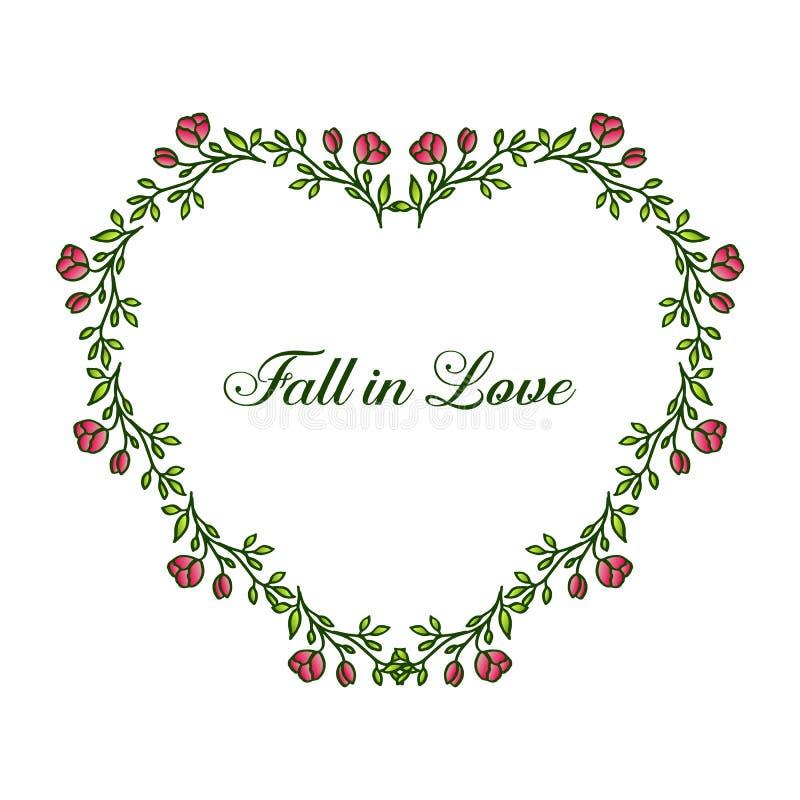Chute de carte dans l'amour, cru romantique, avec le cadre feuillu de fleur de vert de modèle de forme Vecteur illustration libre de droits