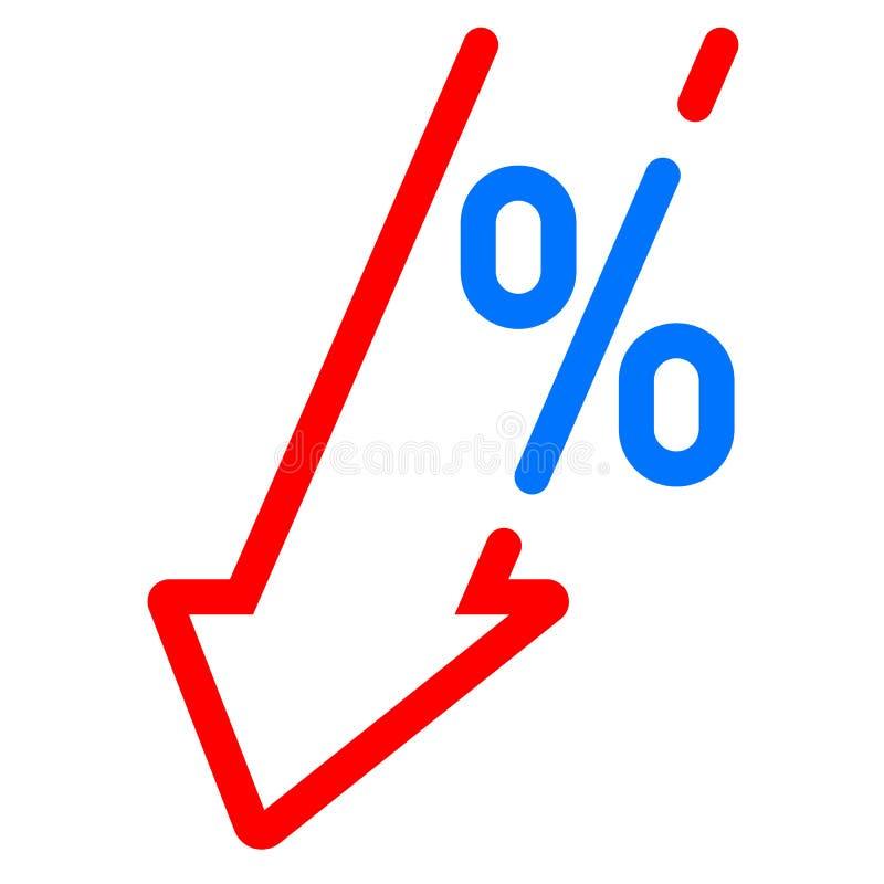 Chute de diminution de PIB, icône rouge de pour cent de flèche PIB de vecteur, flèche de perte de bénéfice d'investissement en ba illustration libre de droits