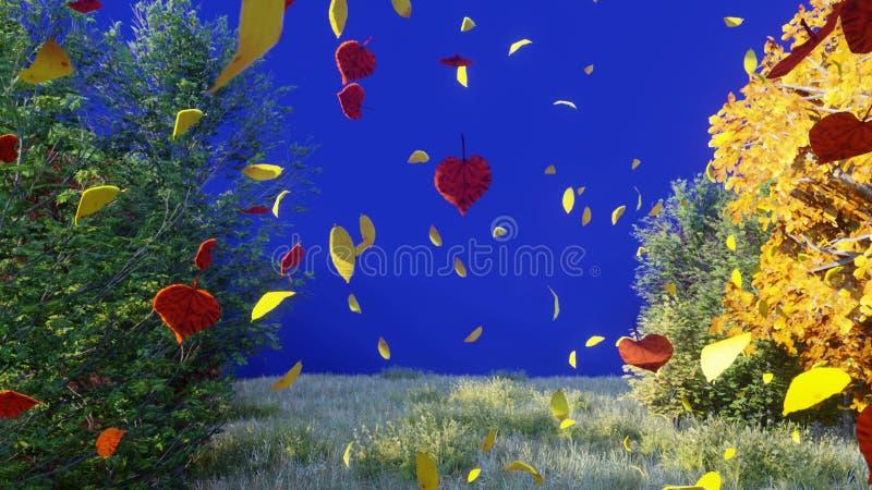 Chute de feuilles d'automne des arbres en parc d'automne Parc color? d'automne un jour ensoleill? devant un ?cran bleu 3d illustration stock