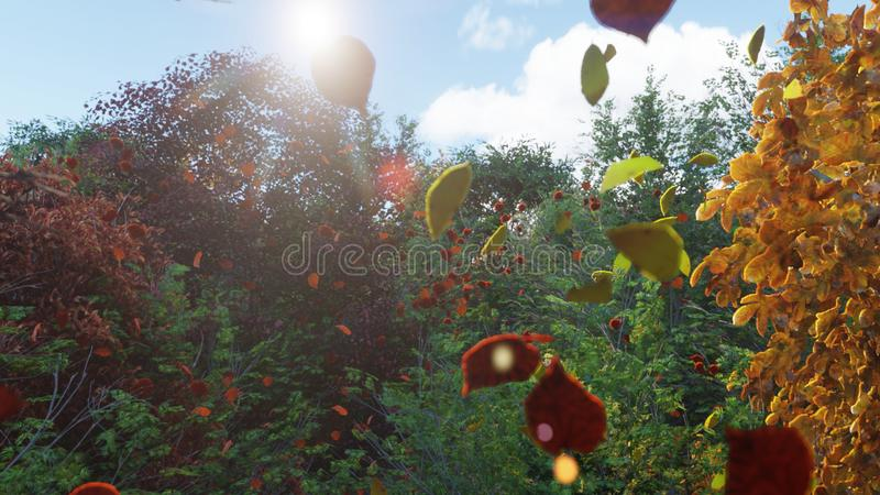 Chute de feuilles d'automne des arbres en parc d'automne Parc color? d'automne un jour ensoleill? rendu 3d illustration libre de droits