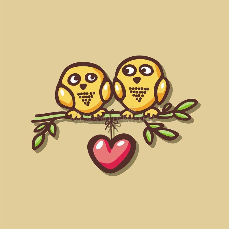 Chute de hiboux dans l'amour sur la branche illustration de vecteur