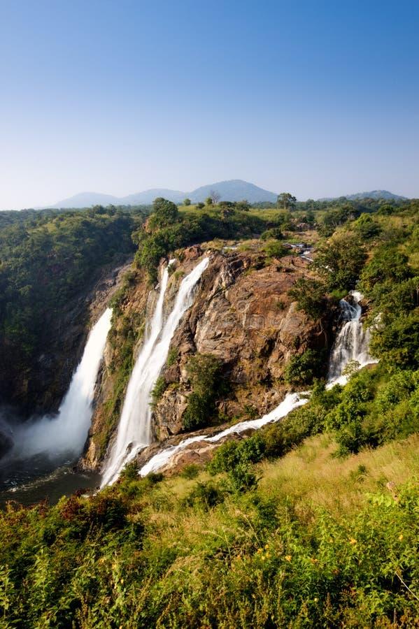 Chute de l'eau de Shivanasamudra dans l'état de Karnataka d'Inde photographie stock libre de droits